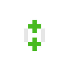 letter h with green cross health logo vector image