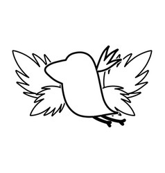 line silhouette bird with exotic leaves reserve vector image