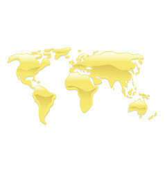Liquid gold world map vector