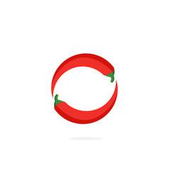 Logo red chili pepper letter o vector