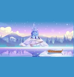 Magic castle on mountain top at river pier vector