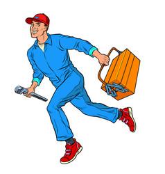 Male master repairman runs vector