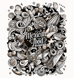 Mexican food hand drawn doodles vector
