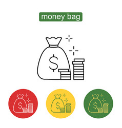Money saving and money bag icon design vector