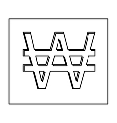 monochrome contour with currency symbol of south vector image