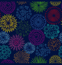 night firework seamless pattern celebration vector image