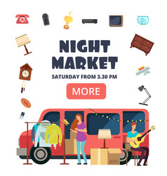 Night market street bazaar invitation poster vector