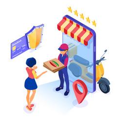 Online food order package delivery service vector