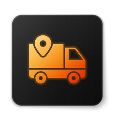 Orange glowing neon delivery tracking icon vector