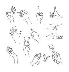 Outline woman hands isolated gestures set vector