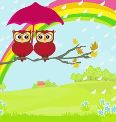 Owls couple under umbrella autumn rainy day vector