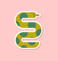 Paper sticker on stylish background wildlife snake vector
