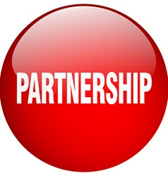 Partnership red round gel isolated push button vector