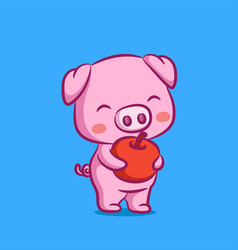 Pig design is giving red apple on his vector