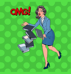 pop art careless business woman dropping folder vector image