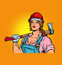 pop art woman lumberjack with axe vector image