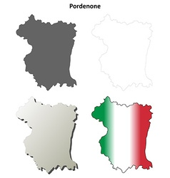 Pordenone blank detailed outline map set vector