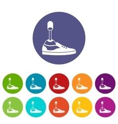Prosthetic leg set icons vector
