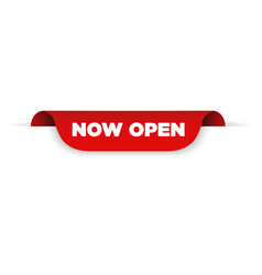 red ribbon with text now open vector image