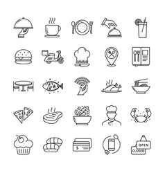 restaurant icon set suitable for infographics vector image