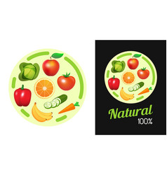 round sticker with fruit and vegetables design vector image