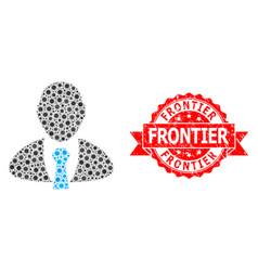 Scratched frontier seal and covid19 mosaic manager vector