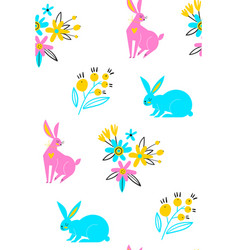 seamless pattern cute white bunnies on white vector image