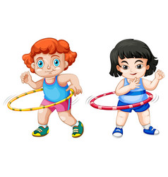 Set children playing hula hoop vector