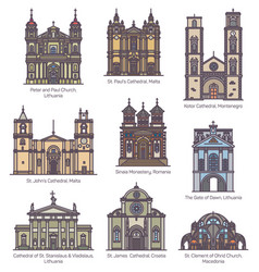Set isolated churches europe in color vector