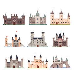 set isolated medieval castle with tower vector image