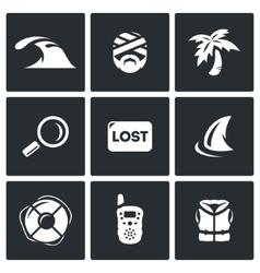 Set of Emergency Service Icons Tsunami vector
