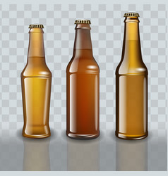 Set of full beer bottles on transparent background vector