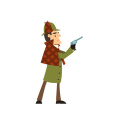 Sherlock holmes detective character holding gun vector