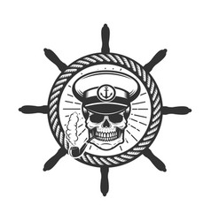 Skull in boat captain hat design element for logo vector