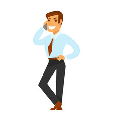 Smiling businessman speaking over phone isolated vector