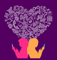 social media lesbian love internet icons concept vector image
