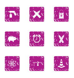 Structural project icons set grunge style vector