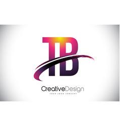 Tb t b purple letter logo with swoosh design vector