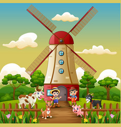 Two boy are working again in front of windmill bui vector