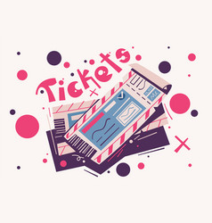 two tickets cartoon event vector image