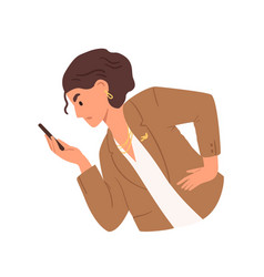 Unhappy woman looking at smartphone screen vector