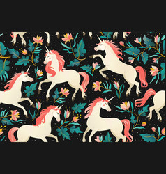 unicorns on a dark background with a fairy forest vector image