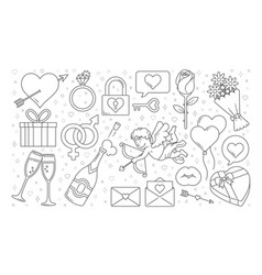 Valentines graphics outline vector