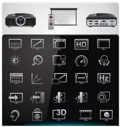 Video projector features icons vector