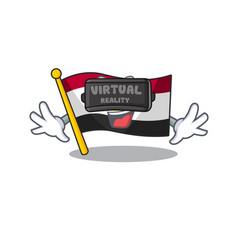 Virtual reality flag egypt folded in mascot vector