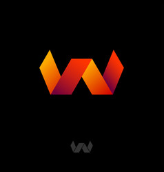 w logo monogram red orange gradient ribbon vector image