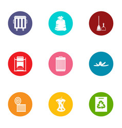 Wastewater icons set flat style vector