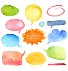 Watercolor hand drawn speech bubbles vector