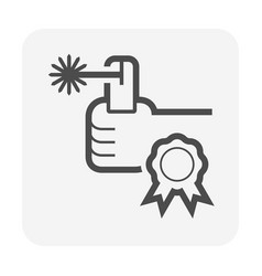 Welding tool and technician and certificate icon vector