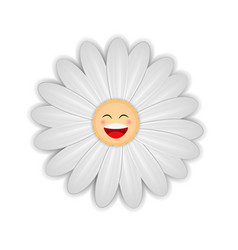 White daisy flower with happy face vector